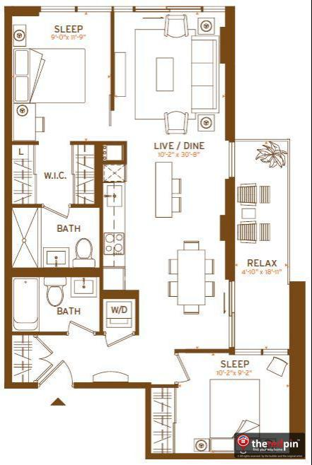 Modern Floorplan D3 2bed 2bth 825sqft The Modern At 320